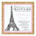 night in paris glitter sweet 16 custom invitations