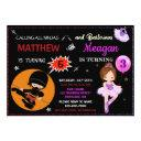 ninja and ballerina birthday invitation two theme