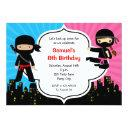 ninja birthday invitations (boy girl twins joint)