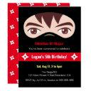 ninja face and mask kids birthday party invitation