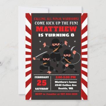 ninja invitation, ninja birthday invitation