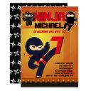 ninja movie star warrior boys girls cartoon party invitation