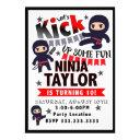 ninja party invitations, ninja birthday invitations