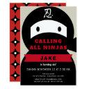 ninja red & black boy birthday invitation