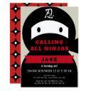 ninja red & black boy birthday invitations