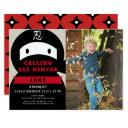 ninja red & black boy photo birthday invitations