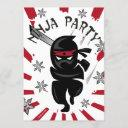 ninja samurai warrior kids birthday party invites