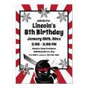ninja samurai warrior kids boys birthday party invitation