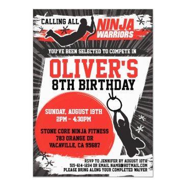 ninja warrior birthday party invitation