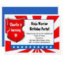 ninja warrior birthday party kids boys patriotic invitation