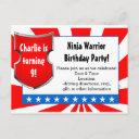 ninja warrior birthday party kids boys patriotic invitation postinvitations