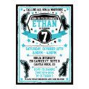 ninja warrior boy birthday party black & teal invitation