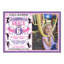 ninja warrior girls birthday photo invitation