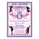 ninja warrior girls pink & purple birthday party invitation