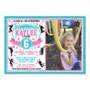 ninja warrior girls pink teal birthday photo invitation