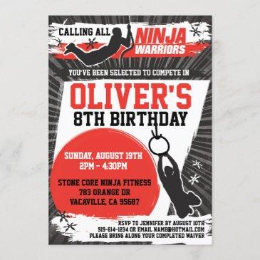 ninja warrior karate kid birthday party invitation