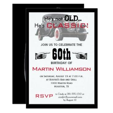 not old but classic car funny birthday party invitation