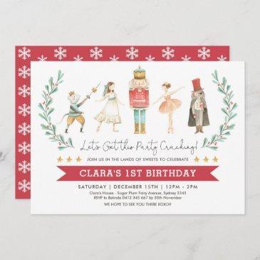 nutcracker birthday sugar plum fairy christmas invitation