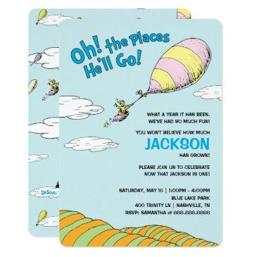 oh! the places he'll go! - first birthday invitations
