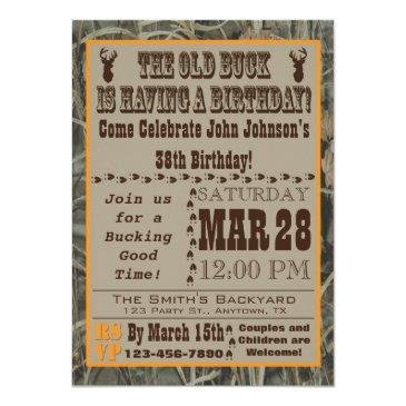 old buck hunting birthday invitation with camo