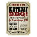 old-time vintage country birthday bbq party invitations