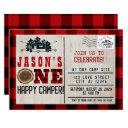 one happy camper flannel plaid 1st birthday invitation