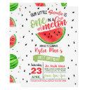 one in a melon birthday invitation - red