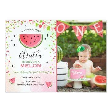 one in a melon birthday invitations watermelon
