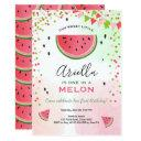 one in a melon birthday invitations watermelon