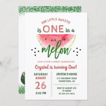 one in a melon glitter watermelon first birthday invitation