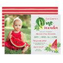 one in a melon photo birthday invitation