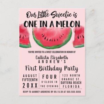 one in a melon watercolor watermelon 1st birthday invitation postinvitations