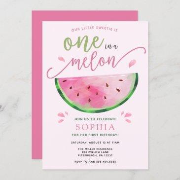 one in a melon watermelon birthday invitation
