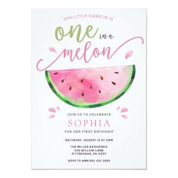 Small One In A Melon Watermelon Birthday Invitation Front View