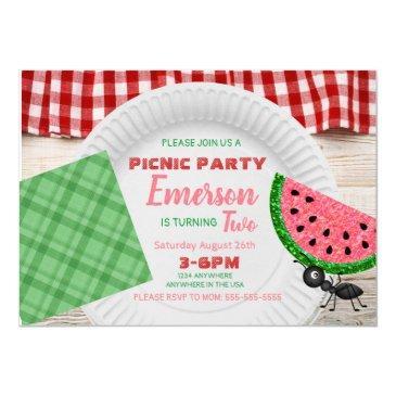 one in a melon, watermelon invitation, picnic invitation