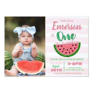 Small One In A Melon, Watermelon Invitation, Picture Invitation Front View