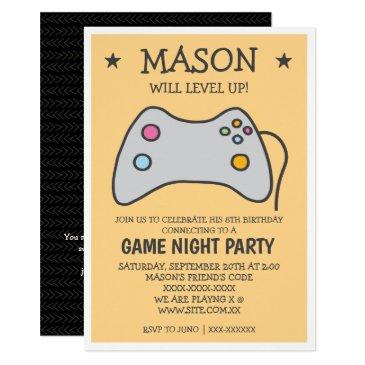 online game night birthday party invitation
