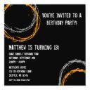 orange and gray grunge circles boy birthday party invitations