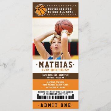orange brown basketball ticket birthday photo invitation