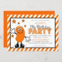 orange jelly bean birthday party invitation