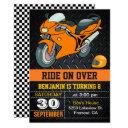 orange motorcycle racing kids birthday invitation