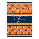 orange & navy footballs bowl game/birthday party invitation