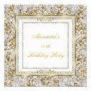 ornate gold white damask diamond birthday party invitations