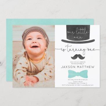 our little man turquoise aqua 1st birthday photo invitation