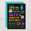 our little monsters joint birthday party invite