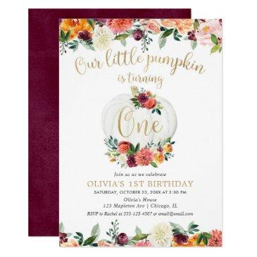 our little pumpkin fall floral burgundy gold invitation
