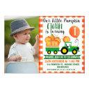 our little pumpkin tractor 1st birthday invitation