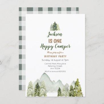 outdoor watercolor camper first birthday invitation