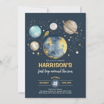 outer space moon stars trip around sun birthday invitation
