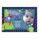 outer space photo birthday invitations